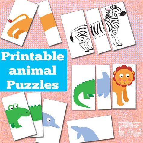 printable animal puzzles for toddlers printable animal puzzles busy bag busy bags animal and bag
