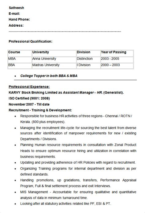 Hr Assistant Resume Format by 21 Hr Resume Templates Doc Free Premium Templates