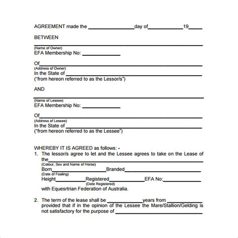 printable horse lease agreement sle horse lease agreement 7 free documents in word pdf
