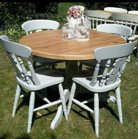 Solid Pine Shabby Chic Farmhouse Round Kitchen Dining Shabby Chic Dining Table And Chairs