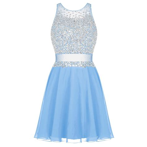 Dress Sweet Blue sparkling neck sequined prom dress sweet blue tulle prom dress sash a