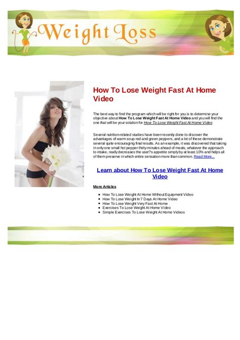 how to lose weight fast at home dailymotion