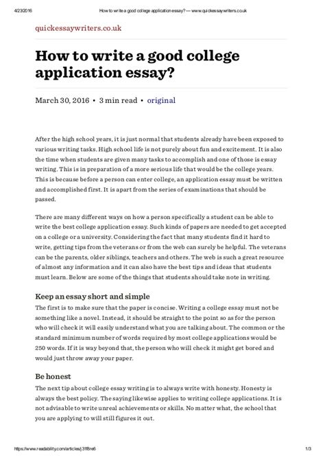 How To Write Personal Essay For College by How To Write A College Application Essay Www Quickessaywriter