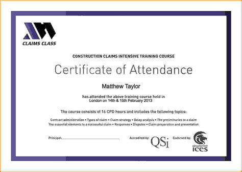 certificate of template certificate of attendance templatereference letters words