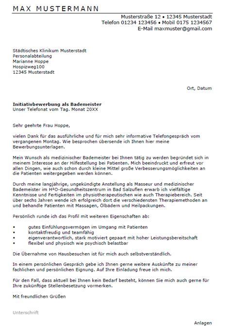Initiativbewerbung Anschreiben Nach Telefonat Bewerbung Bademeister Ungek 252 Ndigt Berufserfahrung Sofort