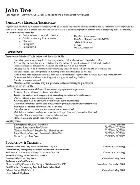 emt resume examples template idea