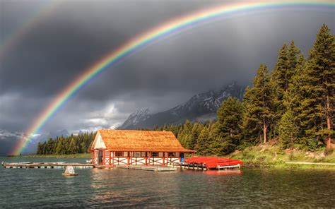 Unique Bedroom Decorating Ideas Rainbow And Dark Clouds Awesome Scenery Hd Wallpaper 01544