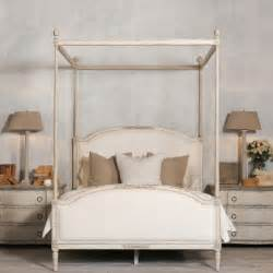 Four Poster Bed by Dauphine Canopy Four Poster Bed In Weathered White