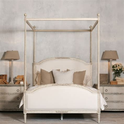Bedroom Furniture Canopy Bed Dauphine Canopy Four Poster Bed In Weathered White Mediterranean Canopy Beds Los Angeles