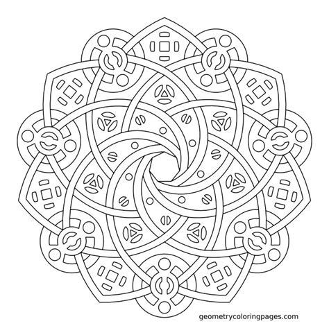 Coloring Pages Geometry Coloring Sheets Free Coloring Geometric Flower Coloring Pages