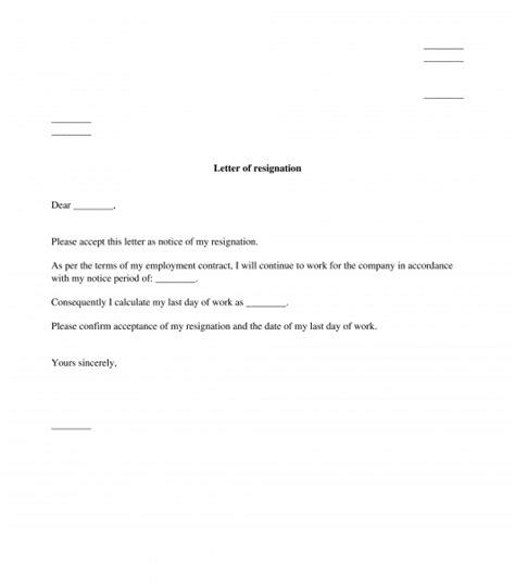 letter resignation sample template word