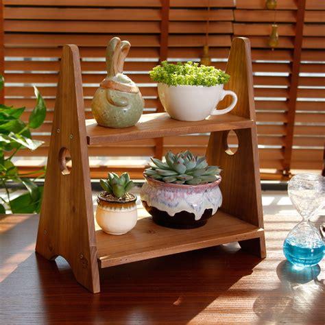 table top herb garden 2 tier solid wood desktop plant flower pot herb holder