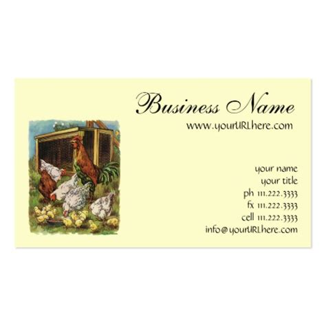farm business cards templates vintage farm animals rooster hens chickens sided
