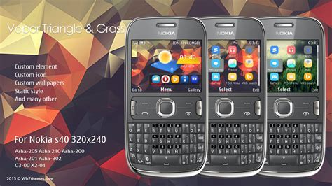 themes of nokia asha 201 vopor triangle grass theme s40 320x240 asha 302 asha 200