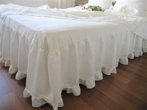 bed ruffles off white ivory linen dust ruffle bedskirt base coverlet box