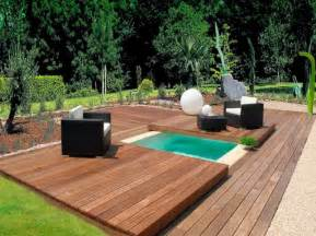 Small swimming pool on backyard with deck backyard design ideas