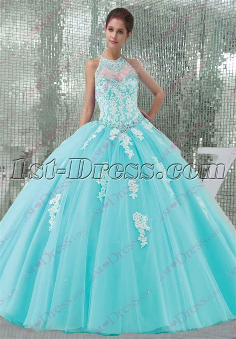 St 2in1 Pretty Blue pretty blue tulle halter 2016 quinceanera dress 1st dress