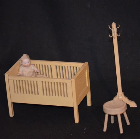 antique doll bisque miniature in crib nursery dollhouse w