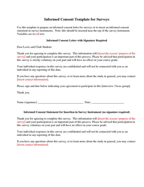 informed consent template best photos of research consent template research