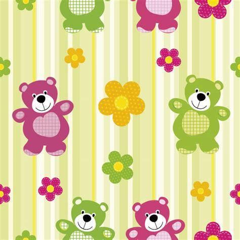 orsi cornici pattern orsi fiori baby flowers vettoriali gratis