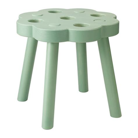 Solid Green Stool by Ryssby Green Wooden Stool Chair Footstool Solid Wood