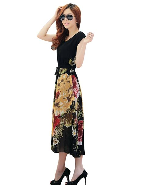vintage bohemian dress summer chiffon