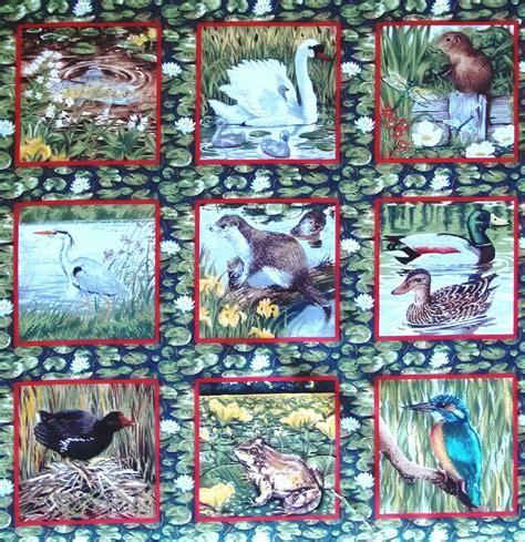 Wildlife Fabric For Quilting by Makower River Bank Wildlife Animal Blocks Quarter Fq