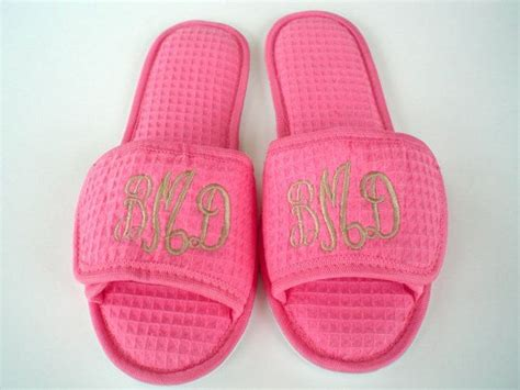 monogrammed bedroom slippers monogrammed slippers bridesmaid spa gifts personalized bedroom slip