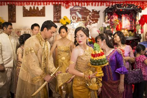 Bride and Groom in Cambodia traditional wedding costumes
