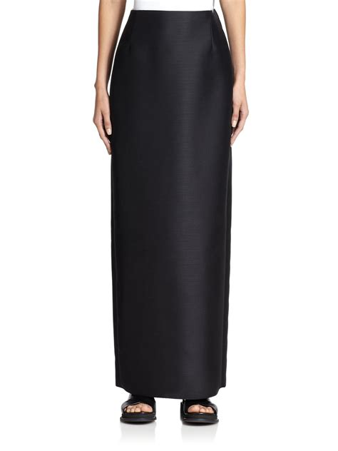 Floor Skirt by The Row Shiya Floor Length Wool Skirt In Black Lyst