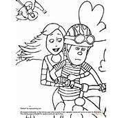 Audrey And Ted On A Bike Coloring Page  Free Printable