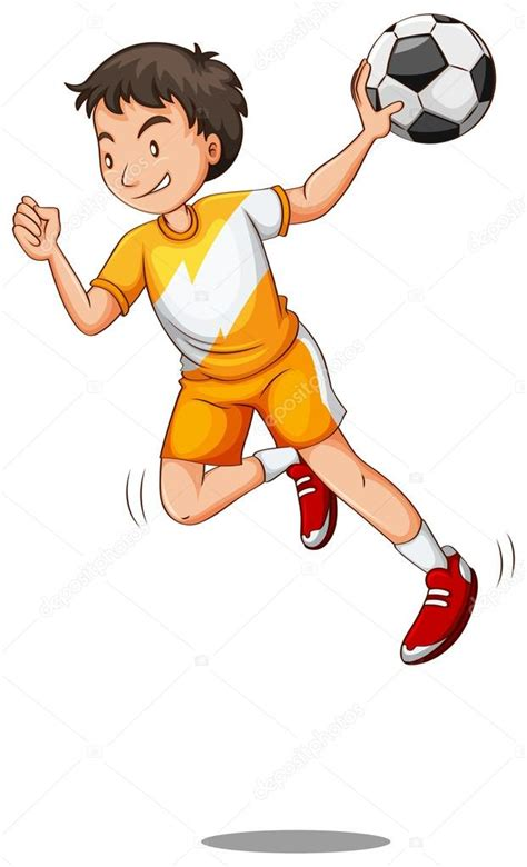 imagenes de niños jugando handball hombre con bal 243 n jugando a balonmano vector de stock
