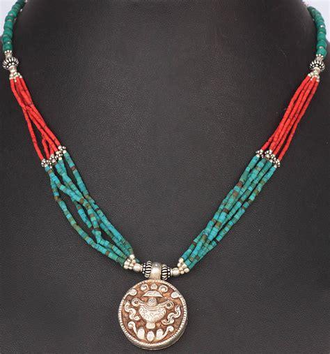 Vase Necklace by Vase Ashtamangala Turquoise And Coral Necklace