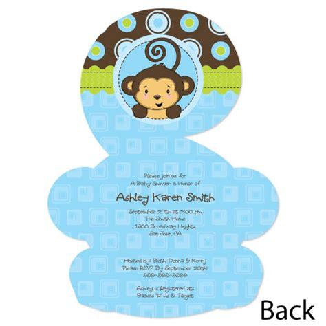 monkey boy shaped baby shower invitations