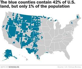 most populated state in usa the rural blog map shows the massive size of the nation s most densely populated rural counties