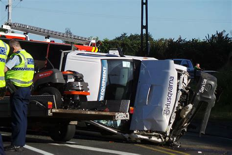 truck crash sunlive ute flipped after truck crash the bay s
