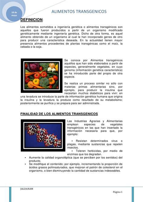definicion de alimentos transgenicos alimentos transgenicos