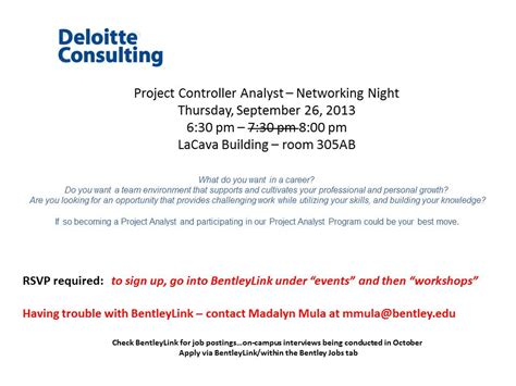 Project Controller by Deloitte Consulting Project Controller Analyst Networking Bentley Careeredge
