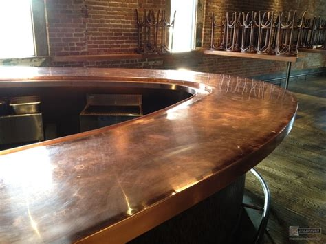 modern bar tops copper counter tops brick and mortar modern kitchen