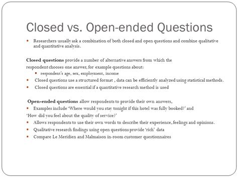Open Ended Questions In Research Papers by Researching Tourist Behavior Marketing Research Ppt