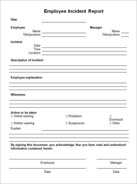 employee report template employee incident report form template images