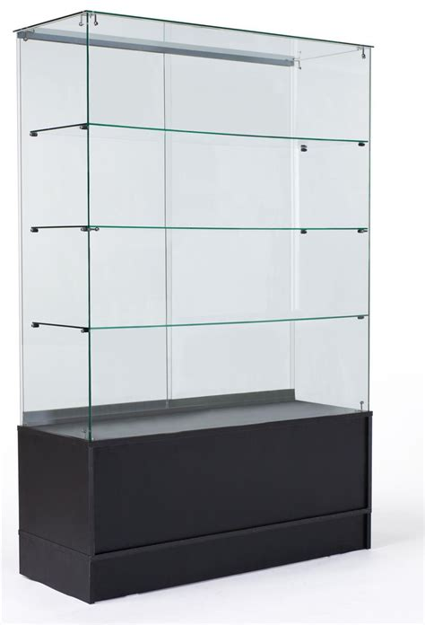 merchandise display case free standing display case black storage base full vision