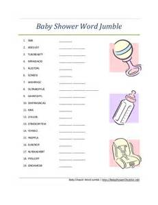 baby shower word jumble