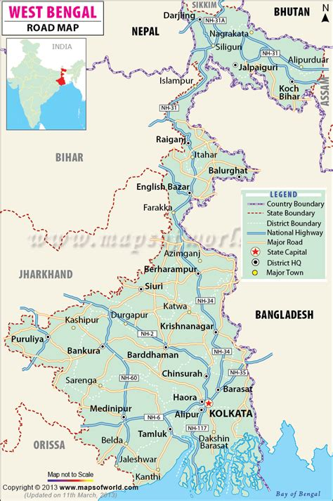printable road map of india west bengal road map