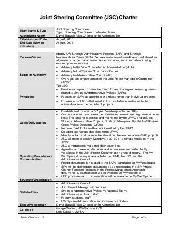 charter template for a committee steering committee charter template drivecms