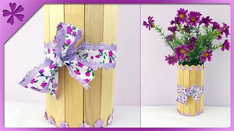 idea vas diy stick flower vase eng subtitles speed up