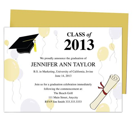 Graduation Announcement Template Card by Printable Diy Templates For Grad Announcements Partytime