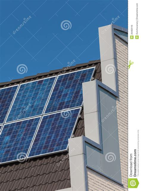 building house with side views side view of a newly build house with solar panels royalty free stock image image
