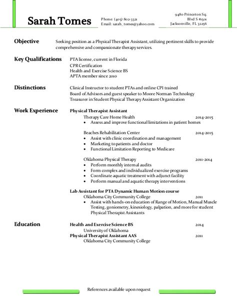 Physical Therapy Assistant Resume by Physical Therapist Assistant Resume Resume