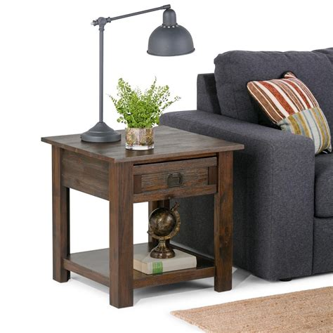 Distressed Coffee And End Tables Simpli Home Distressed Charcoal Brown Storage End Table Distressed Living Room End Tables